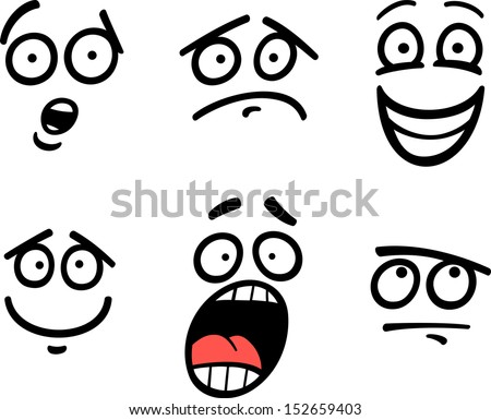 Cartoon Vector Illustration of Funny Emoticon or Emotions and Expressions like Sad, Happy, Fear or Skeptic