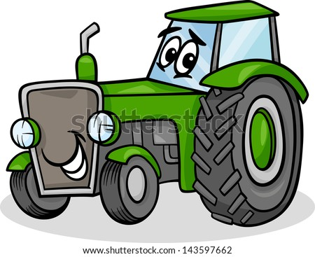 Cartoon Vector Illustration of Funny Farm Tractor Vehicle Comic Mascot Character