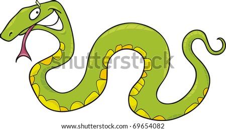 cartoon vector illustration of funny green snake