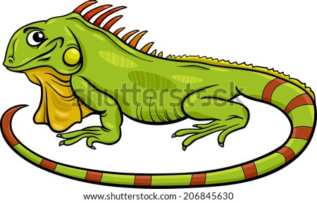 Cartoon Vector Illustration of Funny Iguana Lizard Reptile Animal Character