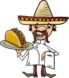 Cartoon Vector Illustration of Funny Mexican Chef or Waiter with Taco
