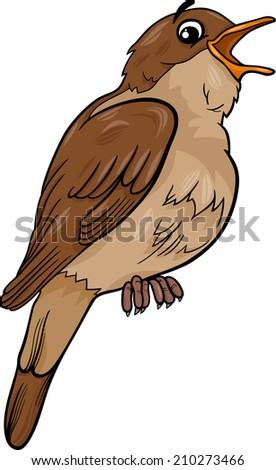 Cartoon Vector Illustration Of Funny Nightingale Bird Animal 210273466