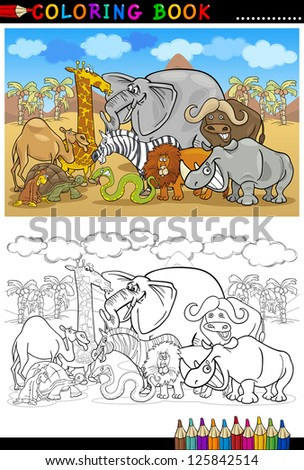 Cartoon Vector Illustration of Funny Safari Wild Animals like Elephant, Rhino, Lion, Zebra, Giraffe and Monkey for Coloring Book or Coloring Page