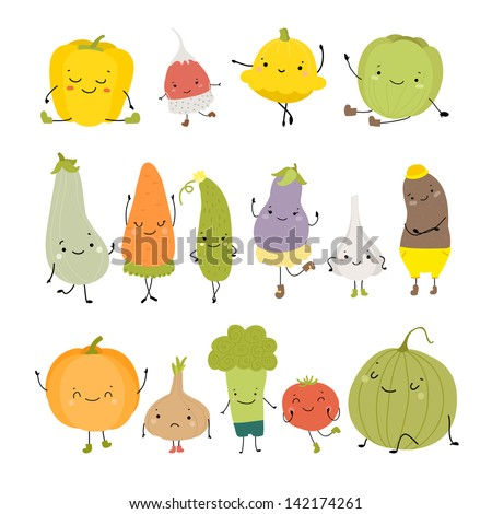 Cartoon Vector Illustration of Funny Vegetables Food