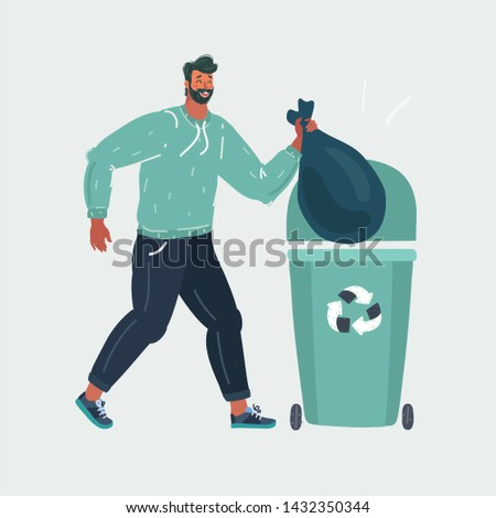 Cartoon vector illustration of Garbage element of a man throwing trash into a basket on the white background.