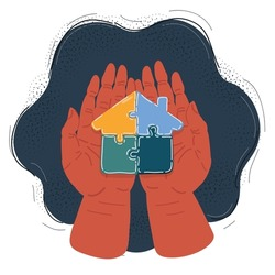 Cartoon vector illustration of Hands Holding Puzzle Jigsaw House in human hands on dark backround.