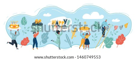 Cartoon vector illustration of Happy Birthday set. Party with happy young people. Man and woman with celebration elements: Candles, cake, gift box, card, bunting garland of flags, happy people.