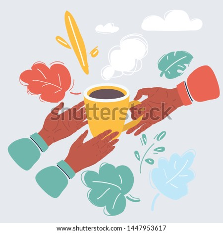Cartoon vector illustration of Human hand holding a warm cup of tea to another persons hands. Help to the needy, humanity, charity, vulnerable sectors of society concept.