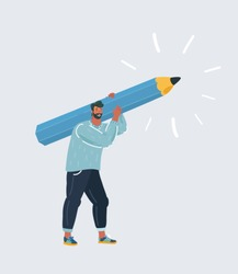 Cartoon vector illustration of Man hold big pencil. Writer, bloggers, journalists, interviewer, screenwriter, copywriter, author, draftsman concept. Human character on white background.
