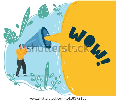 Cartoon vector illustration of man, manager shouting to the speaker. Male character says something important.