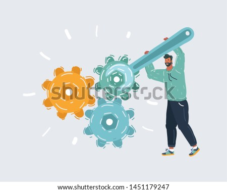 Cartoon vector illustration of man repair gears system with big wrench.