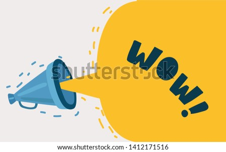 Cartoon vector illustration of megaphone. Bubble and megaphone speech, screaming announce on white.