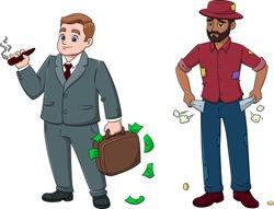 cartoon vector illustration of men-rich and poor