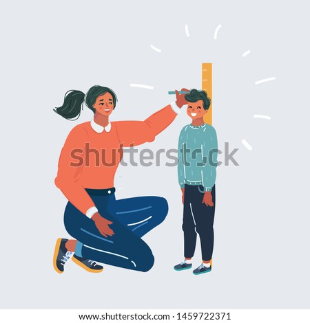 Cartoon vector illustration of Mother measuring her son's height against wall. Human character on white backgound.