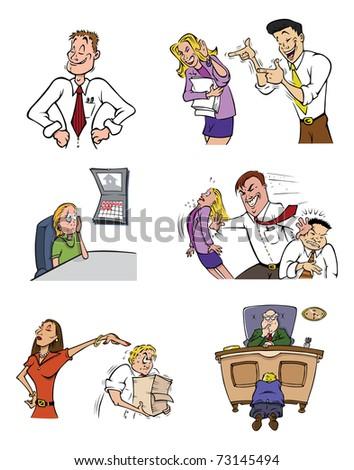 cartoon vector illustration of office life