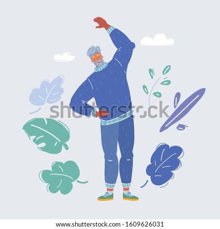 Cartoon vector illustration of Old sport man Stockfoto ©