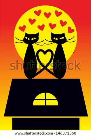 Cartoon vector illustration of pair of cats in love sitting on the top
