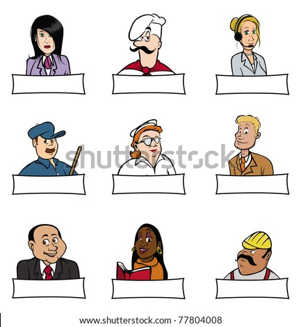 cartoon vector illustration of people professions