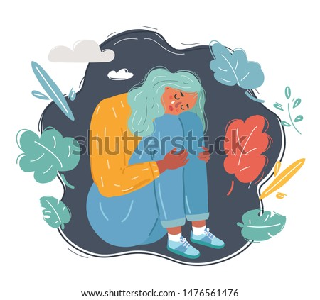 Cartoon vector illustration of Psychological concept. Depressed, Sad and unhappy girl sitting under thundercloud. Young woman in depression hugging her knees and crying.