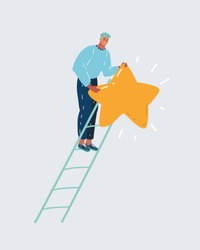 Cartoon vector illustration of reaching goal concept. Man climbed high up on stairs, holds the biggest star. Designer creating his peace of art, dark blue sky night background.