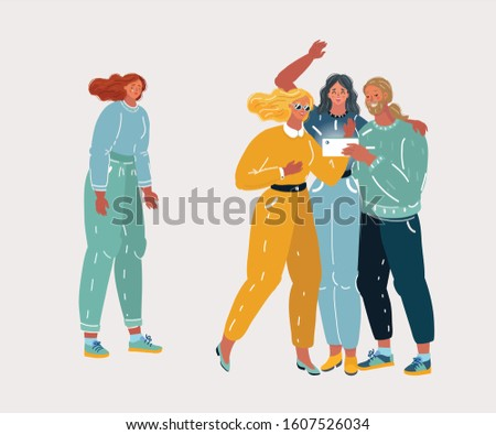 Cartoon vector illustration of Sad lady standing alone. No friends concept. Looser, Youth abuse, social behavior, ignoring, psychological harm and problems. Loser and outsider person.