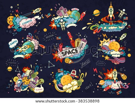 Stock Photo Cartoon vector illustration of space. Moon, planet, rocket, earth, cosmonaut, comet, universe. Classification, milky way. Hand drawn. Abstract