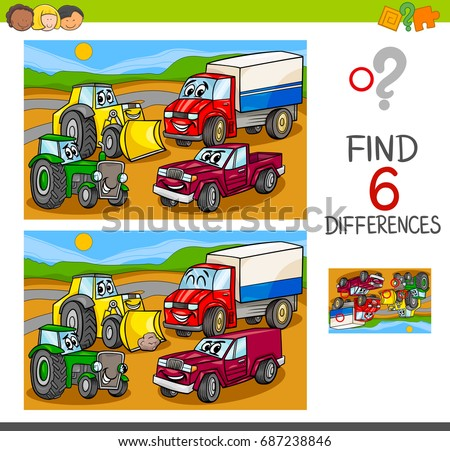 Cartoon Vector Illustration of Spot the Differences Educational Game for Children with Cars and Transport Characters Group
