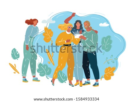 Cartoon vector illustration of teenager girl. Youth abuse, social behavior, ignoring, psychological harm and problems. Loser and outsider woman.