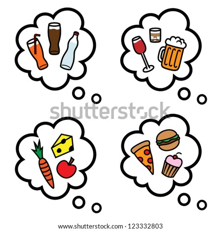 Cartoon vector illustration of thought speech bubbles with healthy and unhealthy food and drinks