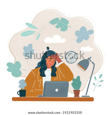 Cartoon vector illustration of tired woman, who touch her forehead with him hand. Character sitting at table. Tiered, illness, fever head ache and exhausted people at office concept.
