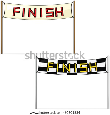 Cartoon vector illustration of two different styles of finish lines