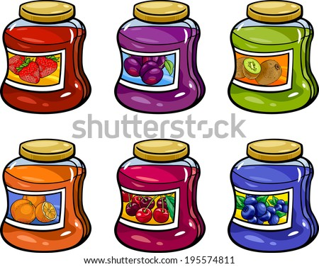 Cartoon Vector Illustration of Various Fruit Jams in Jars Set