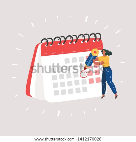 Cartoon vector illustration of woman check calendar have plan on memo, Working and day planning concept. Female human character on white background.