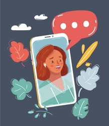 Cartoon vector illustration of Woman face on screen of phone. Incoming call on smartphone screen. Close up face. Video call with speech bubble above.