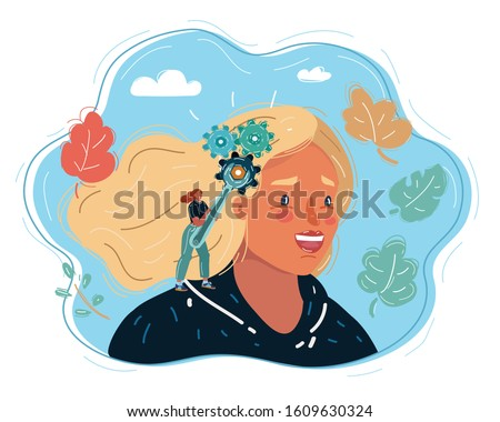 Cartoon vector illustration of woman holding wrench to fix the brain in human head. Fixing or changing, or make better way of thinking.