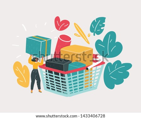 Cartoon vector illustration of Woman is carrying a grocery cart full of groceries in the supermarket.