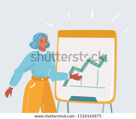 Cartoon vector illustration of woman presenting on flipchart in office. Human character on white background.