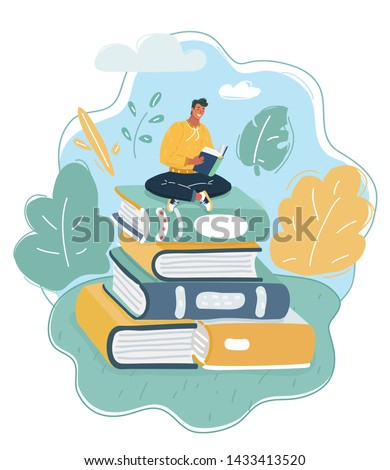 Cartoon vector illustration of Young man sitting on big books stack of his skills and knowledge and reading. Education, professional career establishment basics concept.