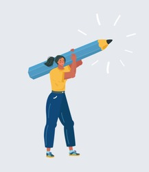 Cartoon vector illustration of Young woman holding a big pencil and stand on white isolated background. Writer, bloggers, journalists, interviewer, screenwriter, copywriter, author, draftsman concept.