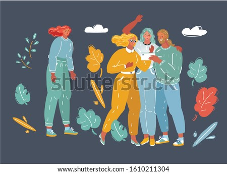 Cartoon vector illustration of young woman. Outsider of the crowd. Bullying, No friends concept.