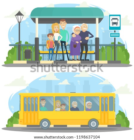 Cartoon vector illustration. Passengers waiting for the bus. Passengers on the bus.