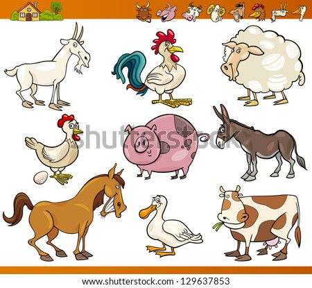 Cartoon Vector Illustration Set of Cheerful Farm and Livestock Animals isolated on White