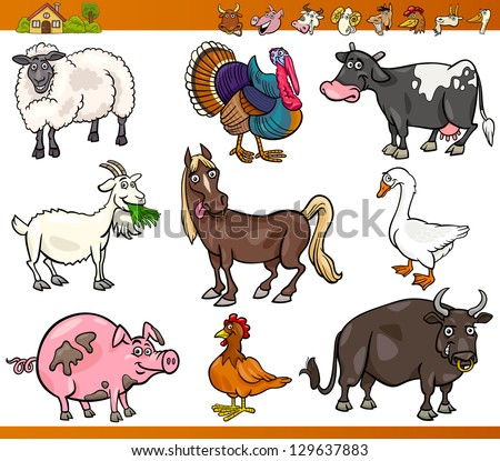 Cartoon Vector Illustration Set of Happy Farm and Livestock Animals isolated on White