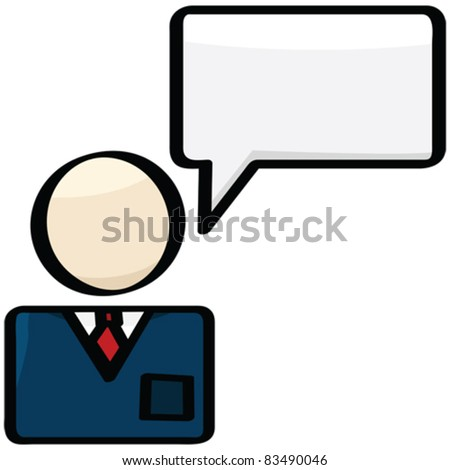 Cartoon vector illustration showing a businessman with a talk balloon over him