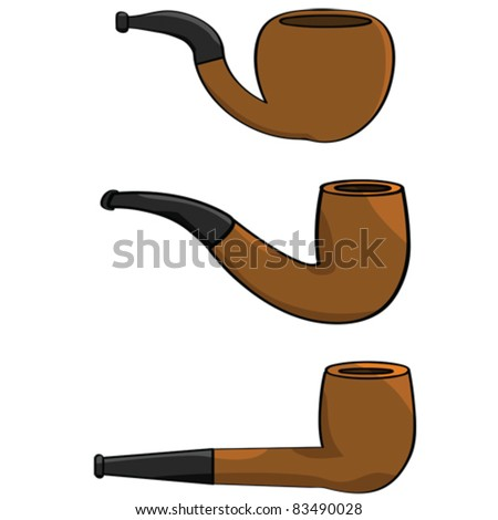 Cartoon vector illustration showing a collection of three different pipes