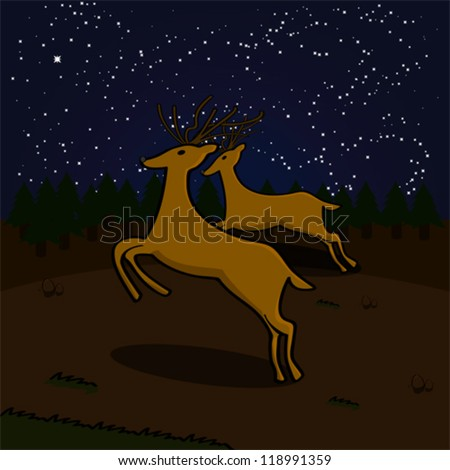 Cartoon vector illustration showing a couple of reindeer running on a field at night