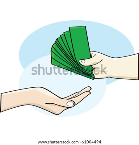 Cartoon vector illustration showing a hand giving money and an open hand accepting it