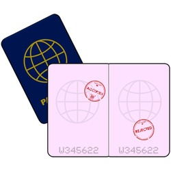 Cartoon vector illustration showing a passport with stamps for entry denied and accepted