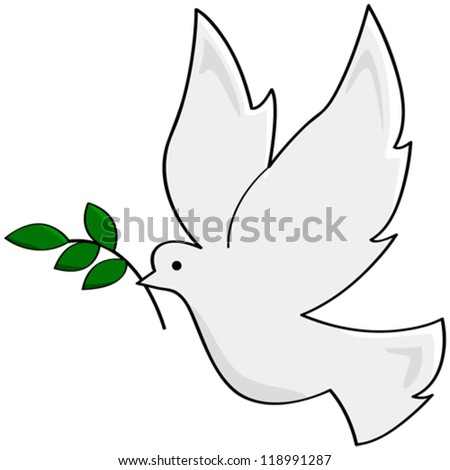 Cartoon vector illustration showing a white dove carrying a small branch, symbolizing peace