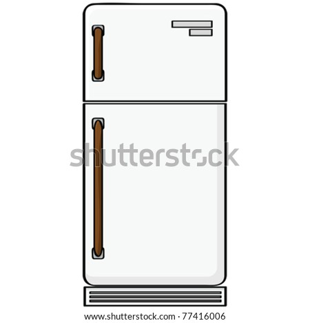 Cartoon vector illustration showing an old-style refrigerator model
